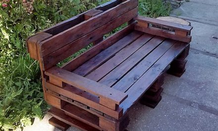 Garden Bench Made with Reused Wood Pallets