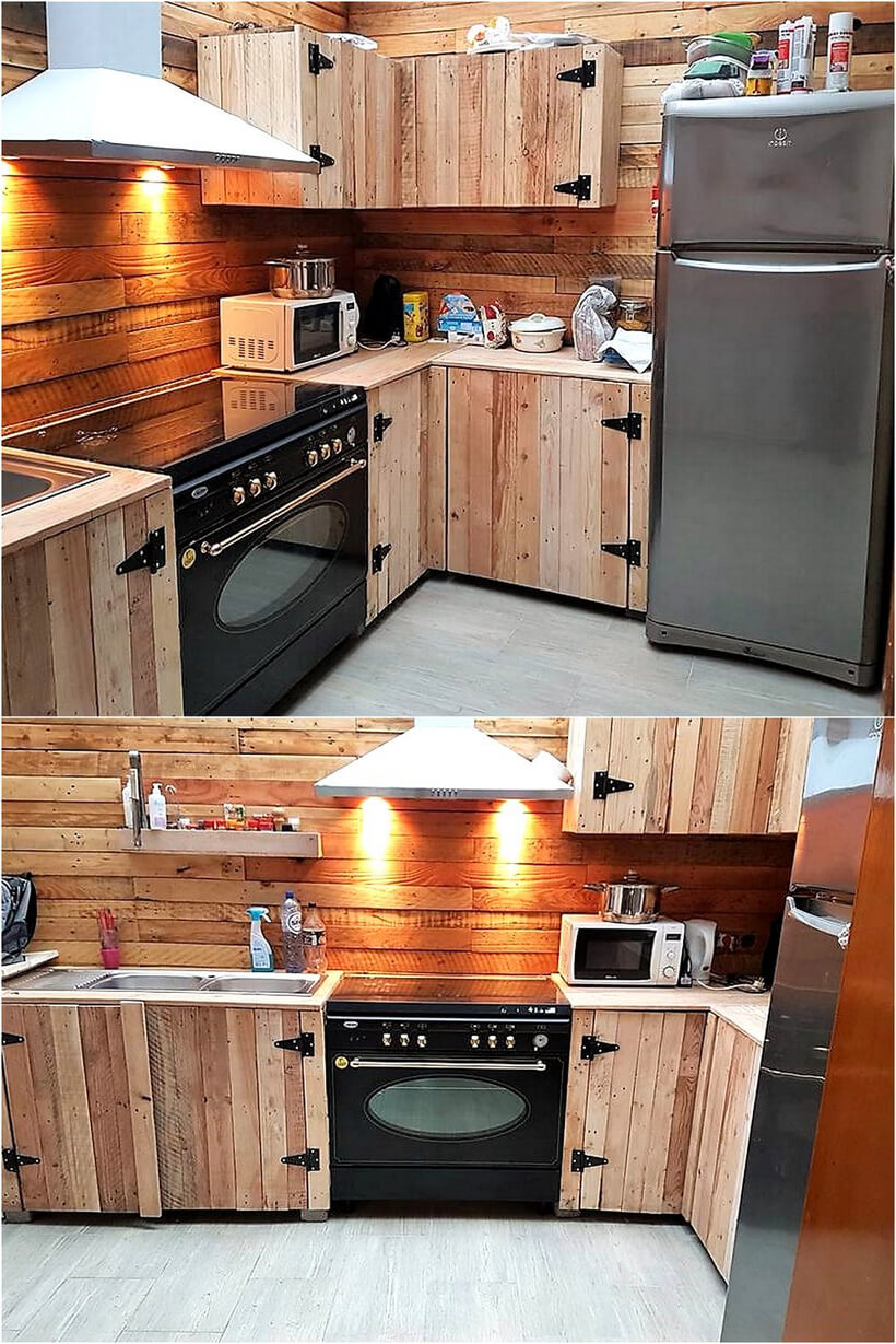 wood pallet made kitchen plan
