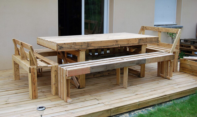 wood pallet patio dining set