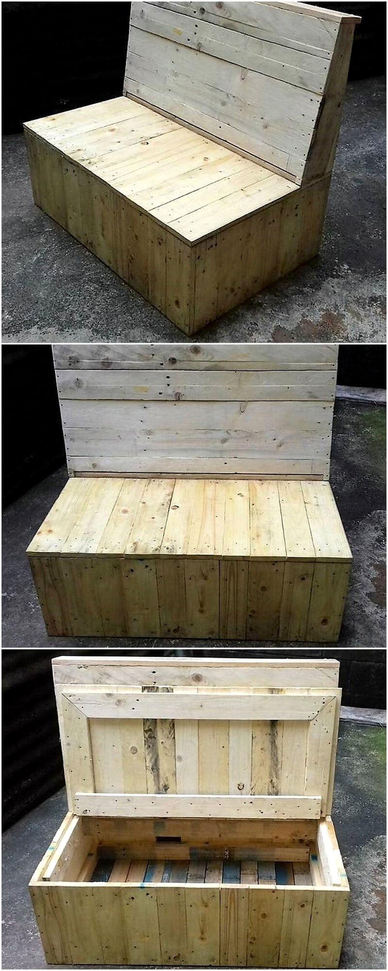 wooden pallet bench cum chest