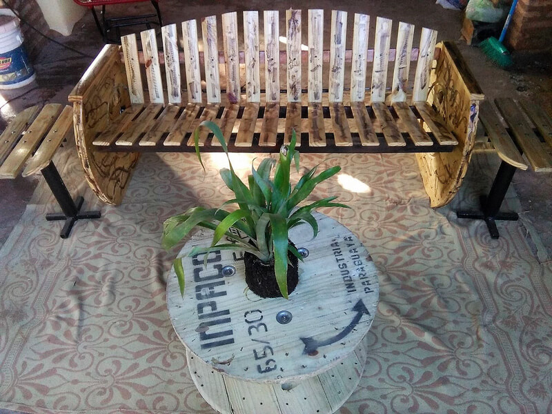 wooden pallet bench with side tables