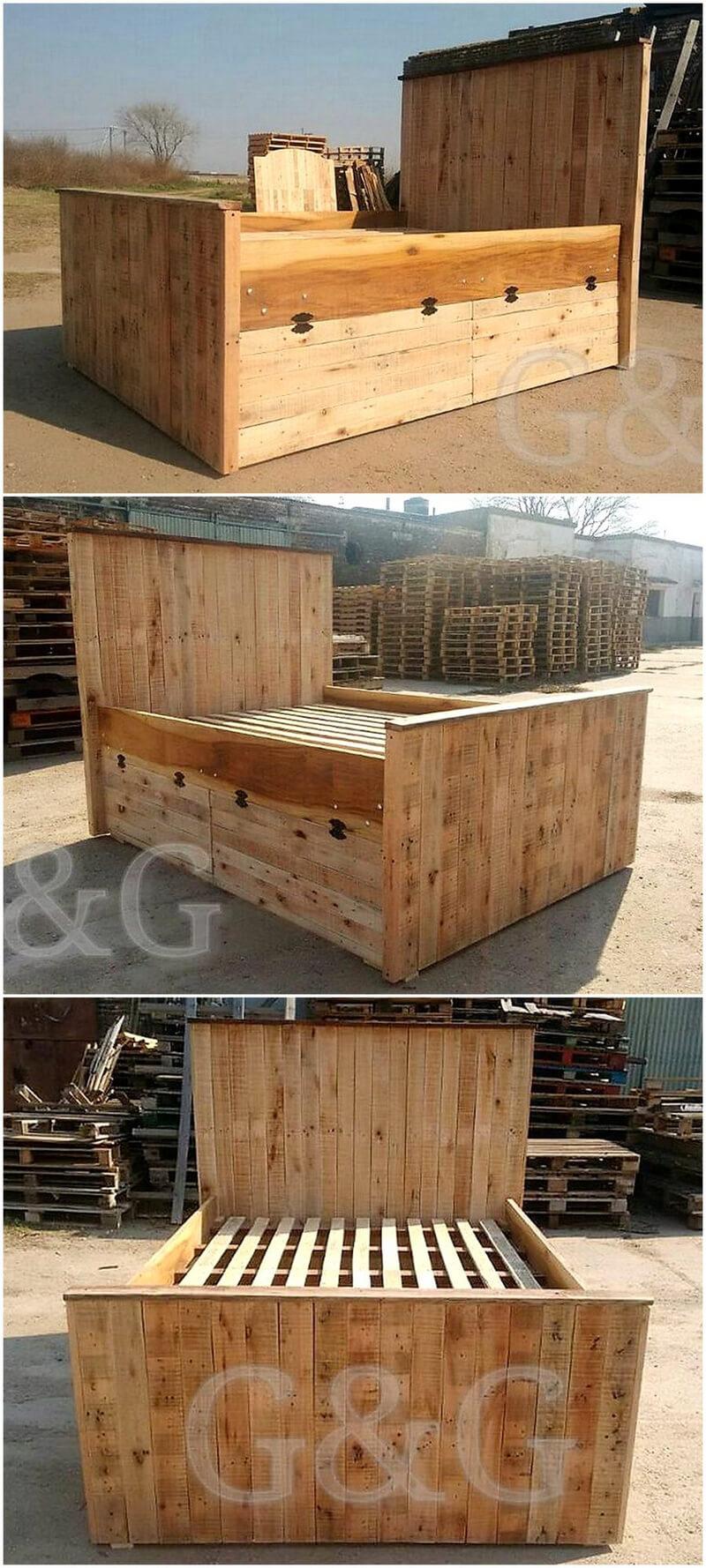 wooden pallet giant bed frame