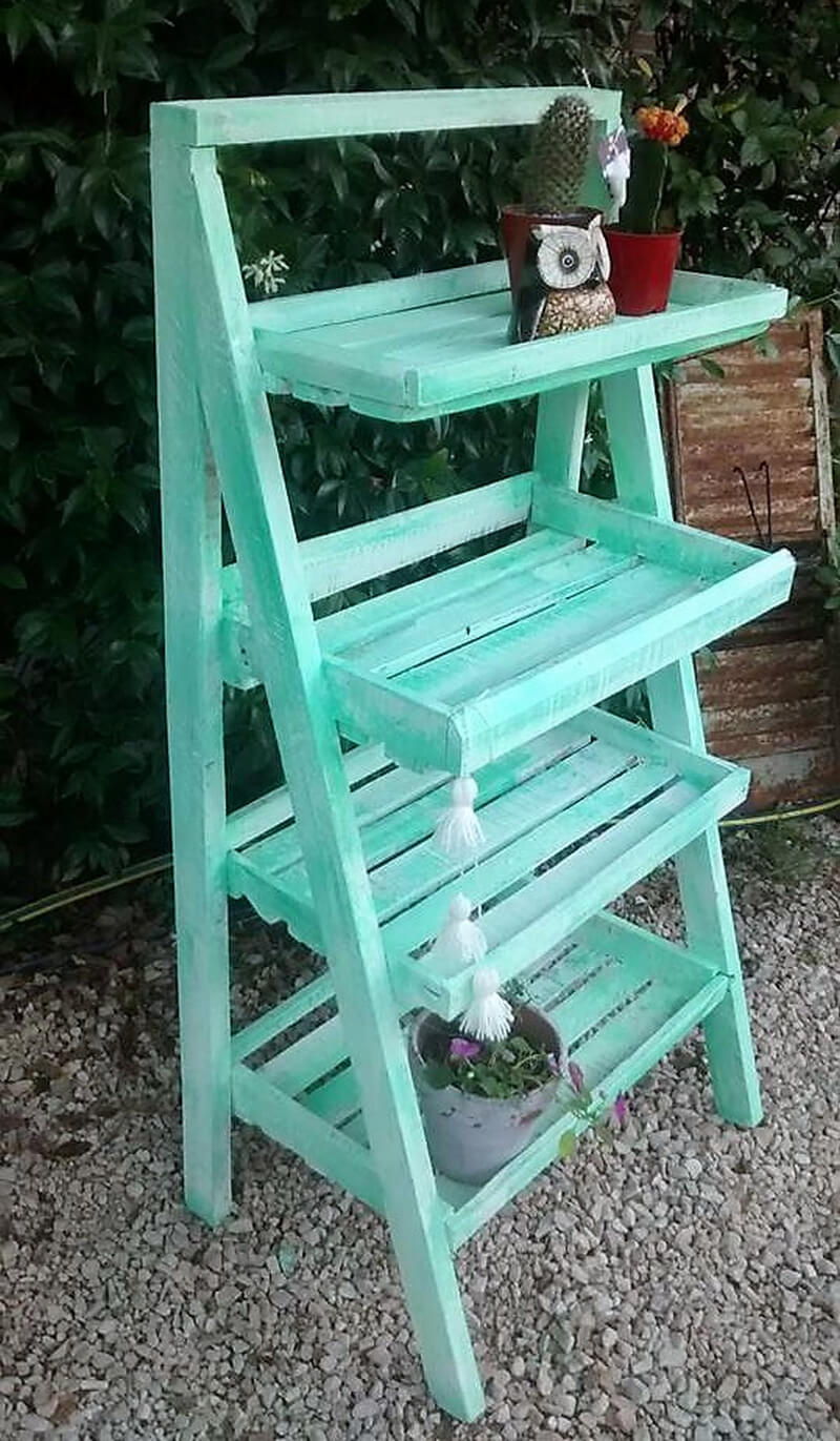 wooden pallet pots stand