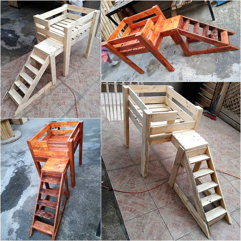wooden pallets made dog stairs bed