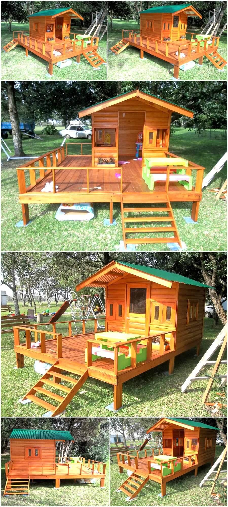 repurposed wood pallets made kids patio playhouse - Patio Playhouse