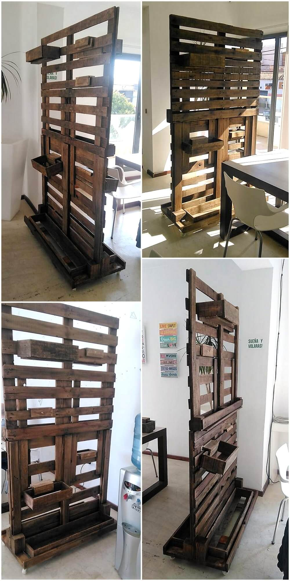 Repurposed wood pallets made room divider idea wood for Repurposed pallet projects