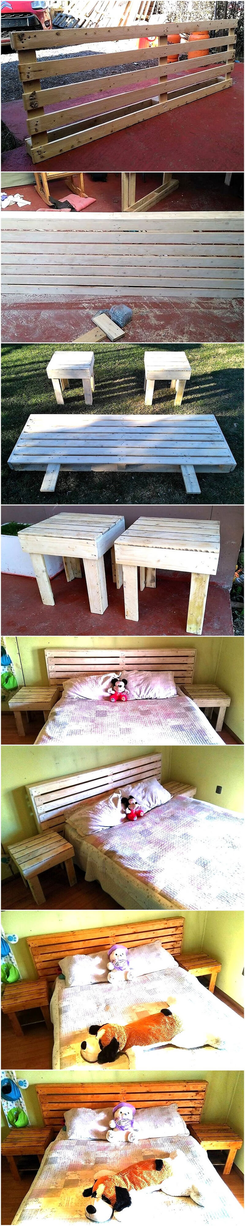 diy pallet headboard with side tables