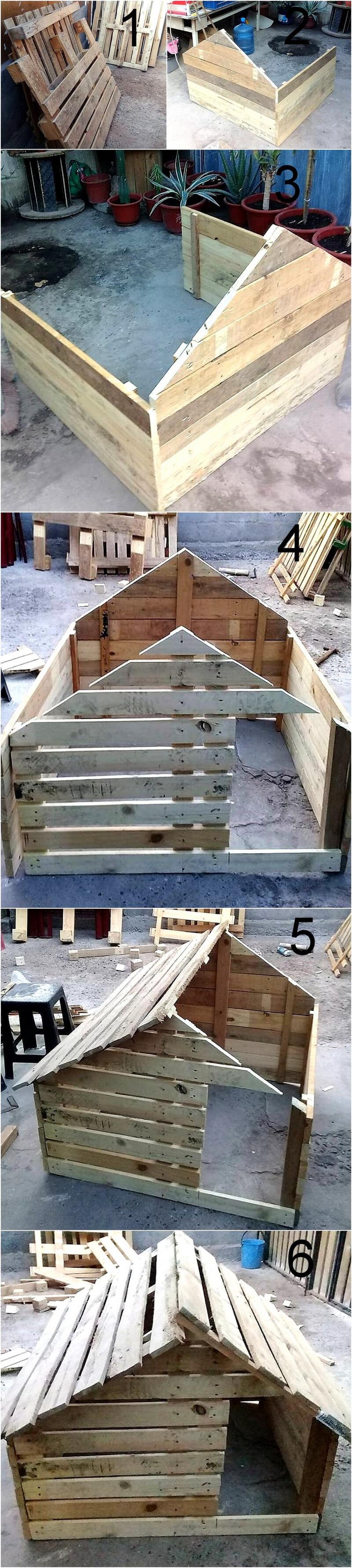 diy pallets made dog house