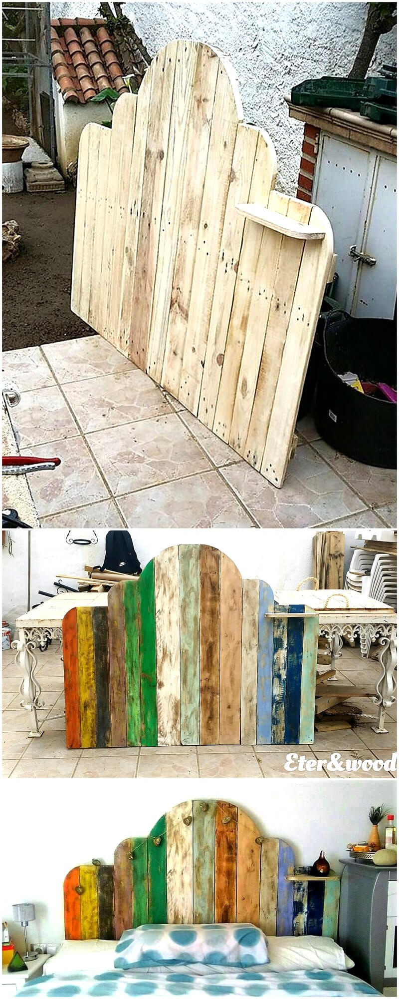 diy pallets wood bed headboard 1