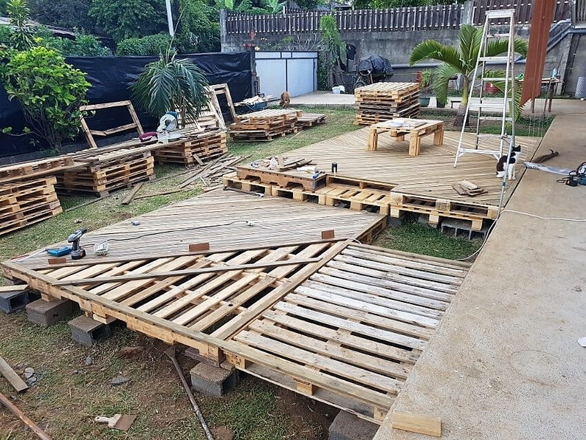 diy pallets wooden deck