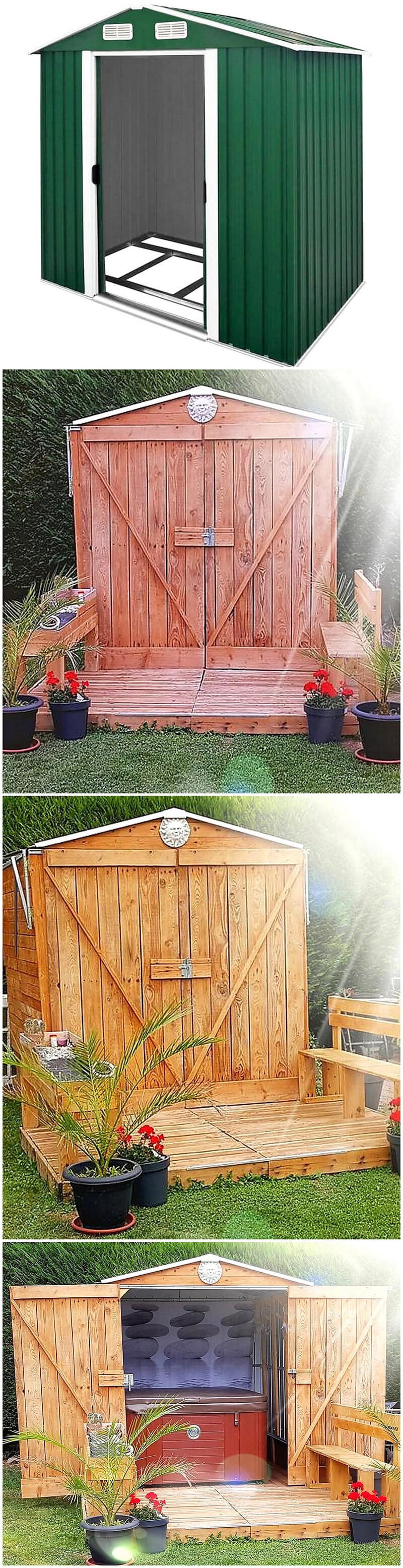 diy pallets made patio cabin
