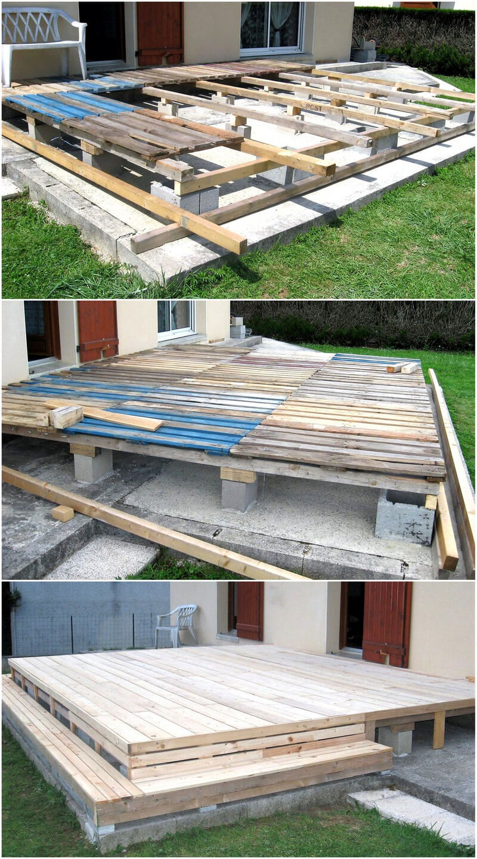 diy wooden pallet terrace plan