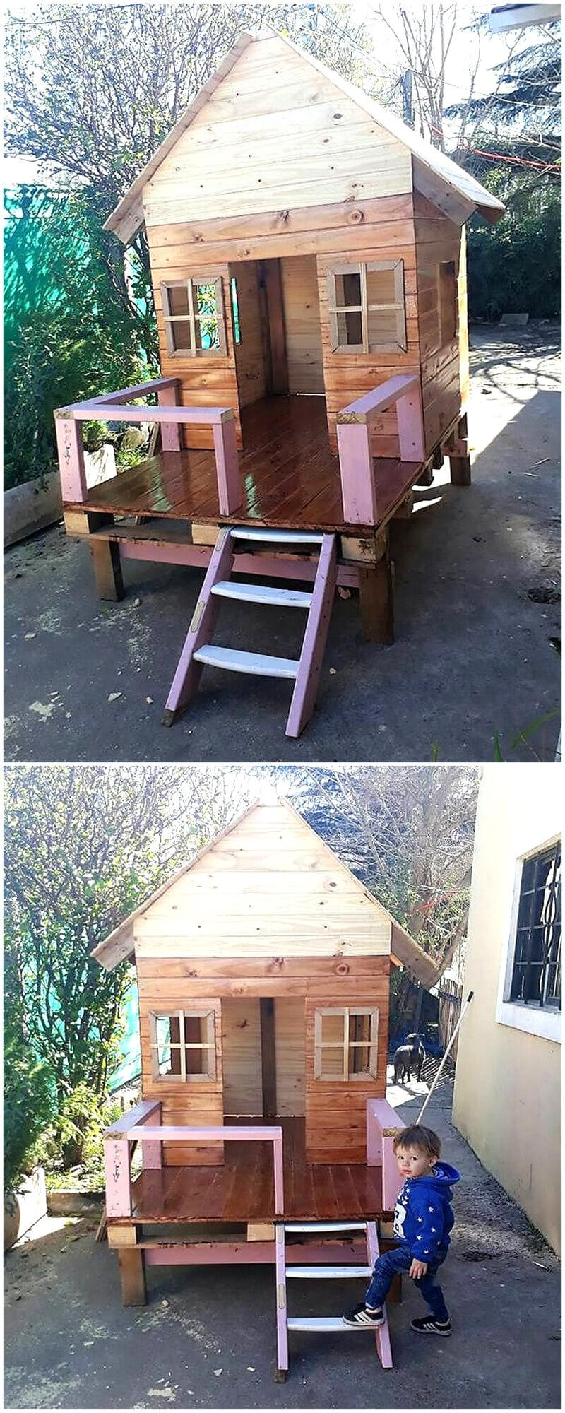 kids playhouse made with pallets wood