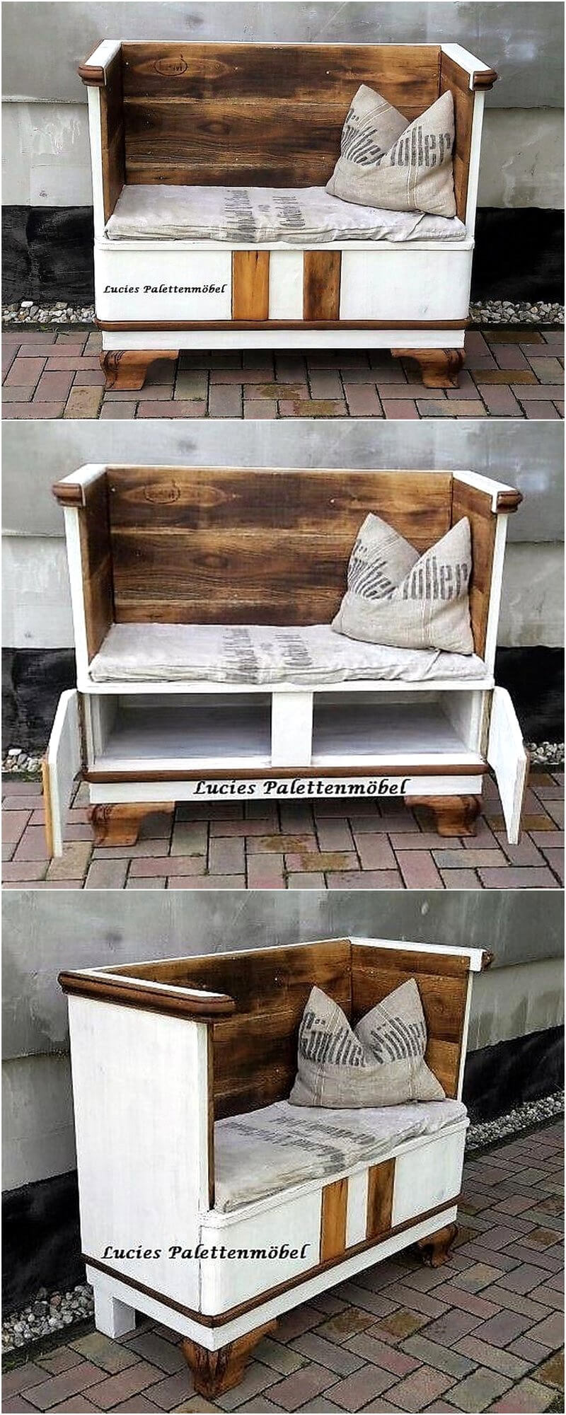 palles wooden patio bench with storage