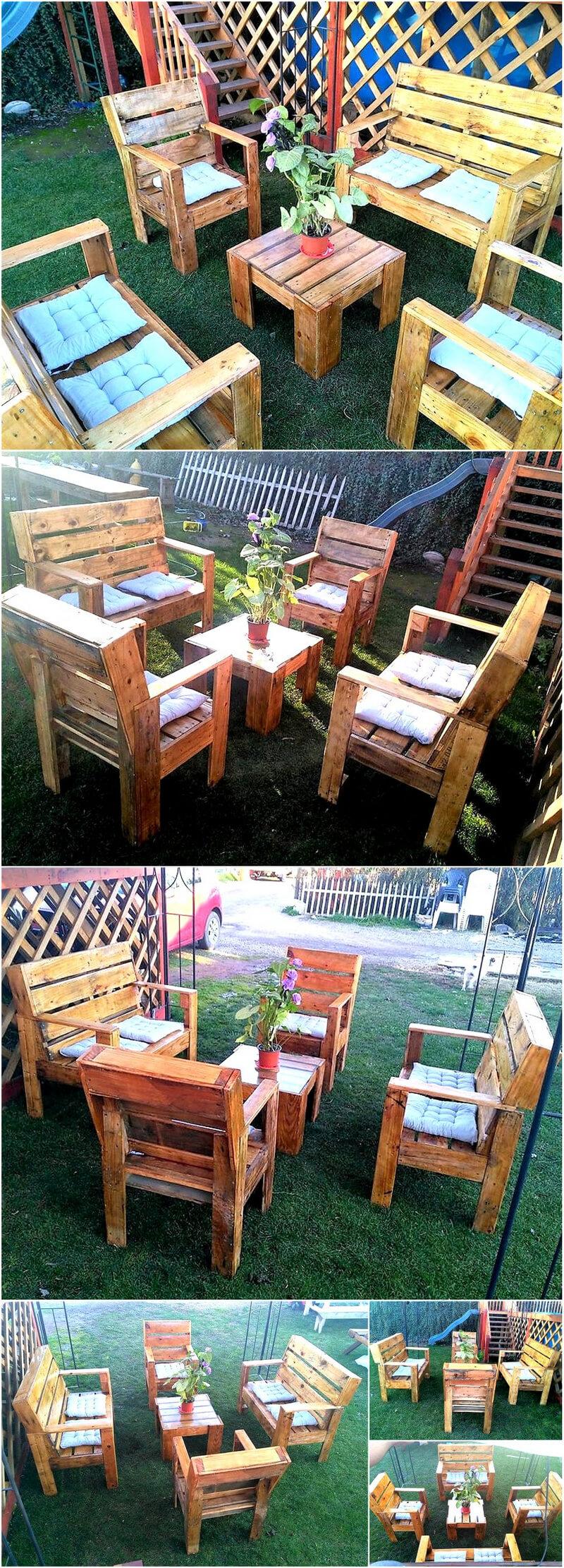 pallet wooden garden furniture idea
