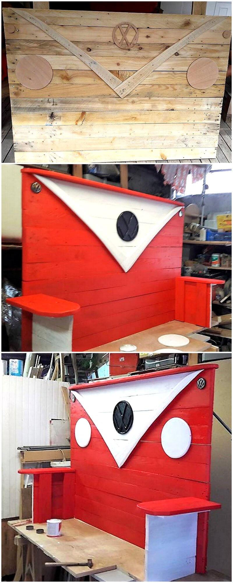 pallets bed headboard art