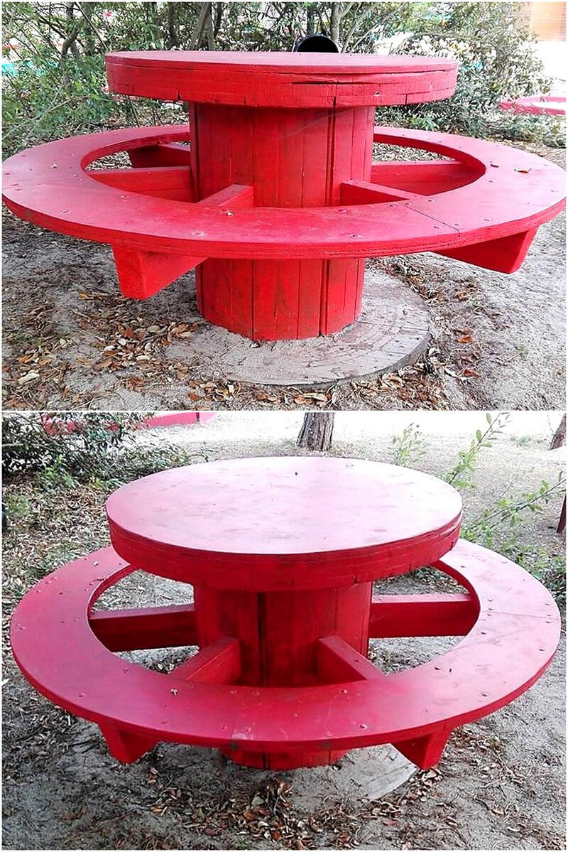 pallets cable reel patio seating