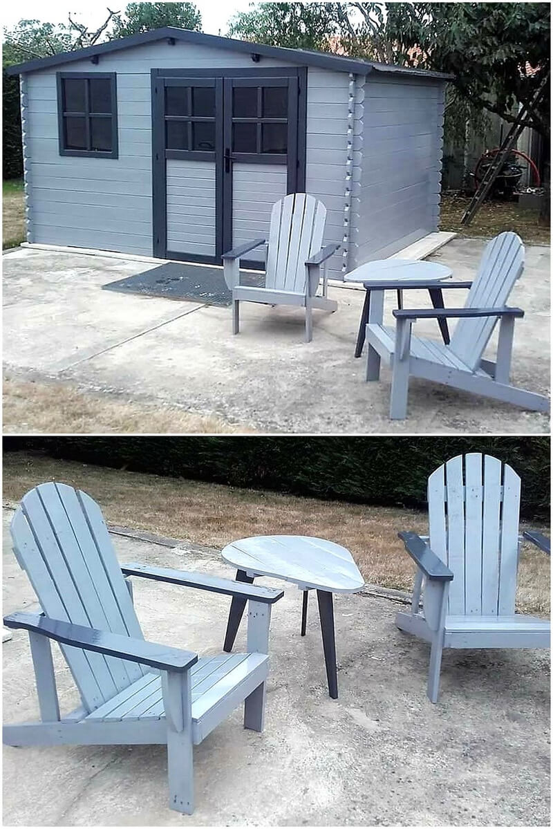 pallets garden cabin and chairs