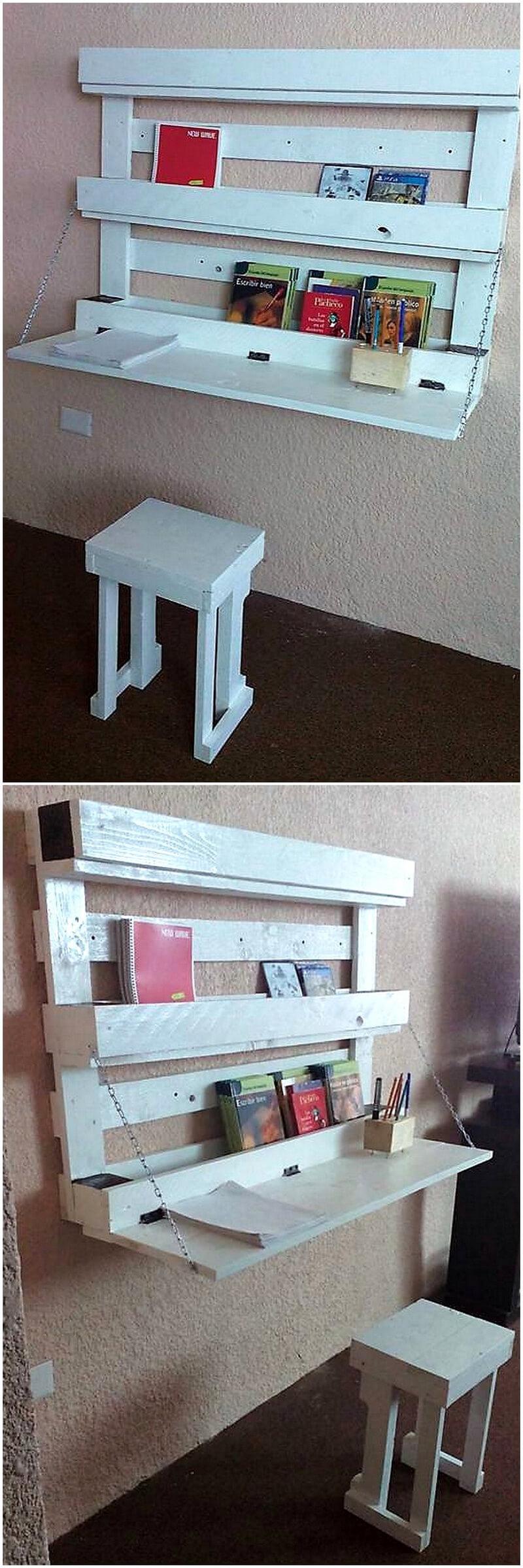 pallets hanging study desk idea