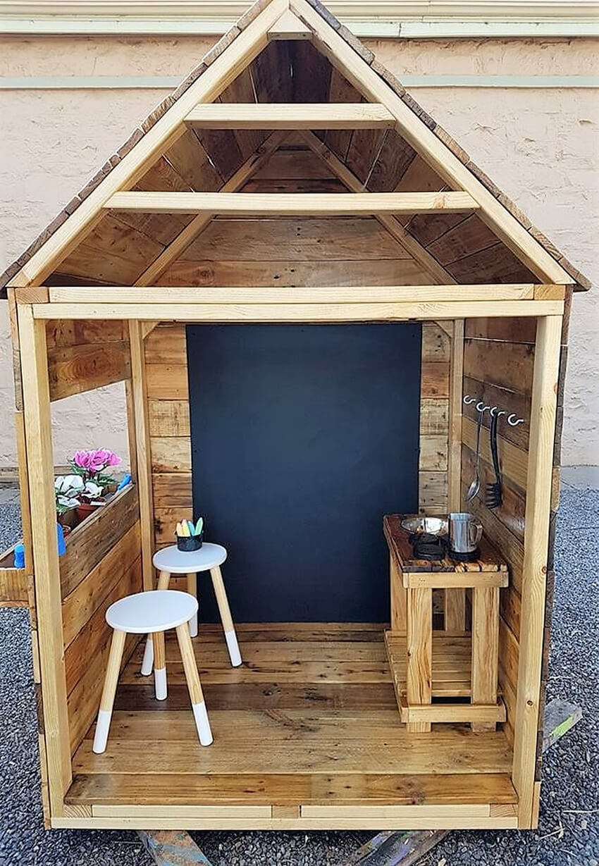 pallets kids mud kitchen cabin