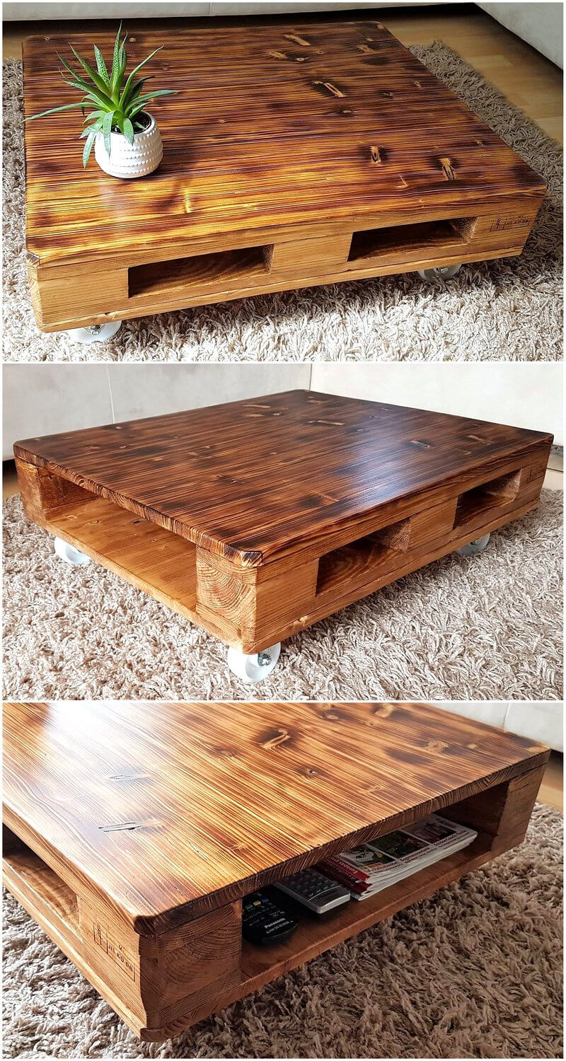 pallets rustic coffee table on wheels