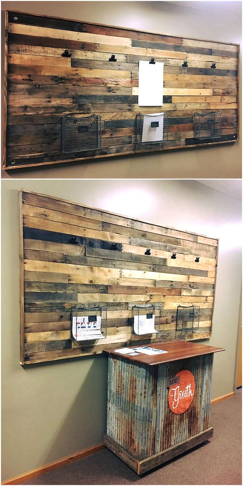 pallets wood newsletter, notice display wall rack