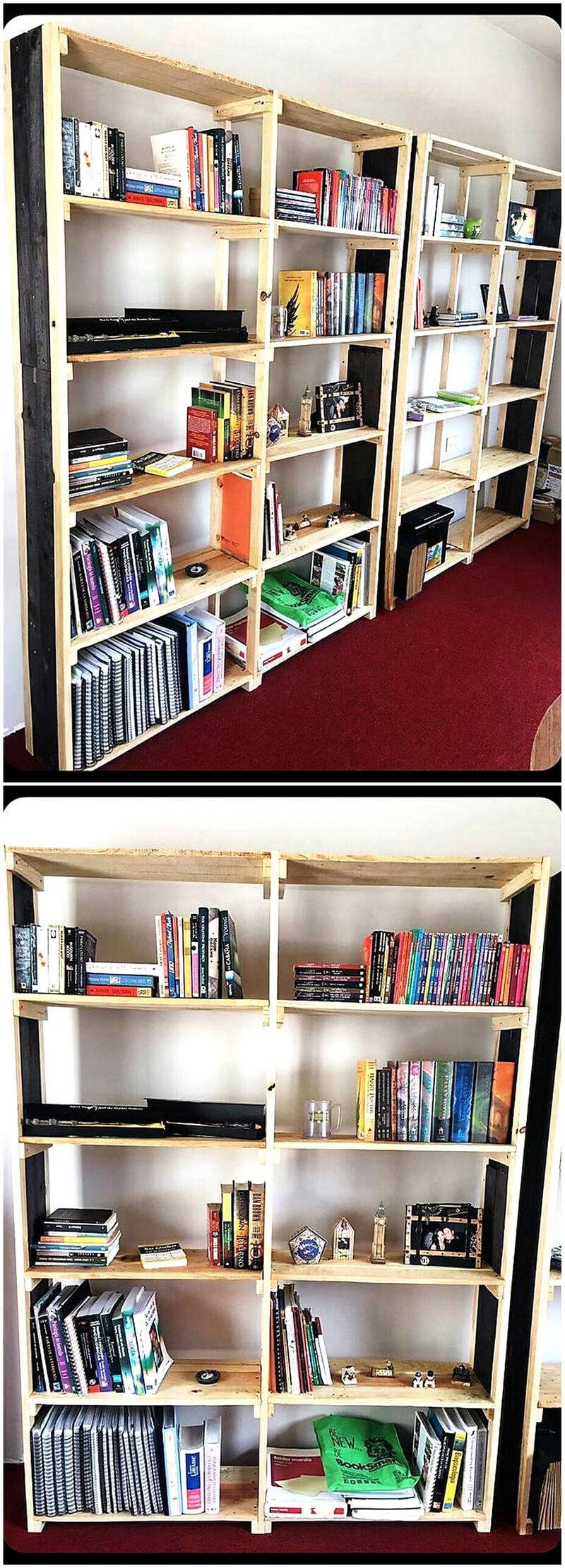 pallets wooden book shelving racks