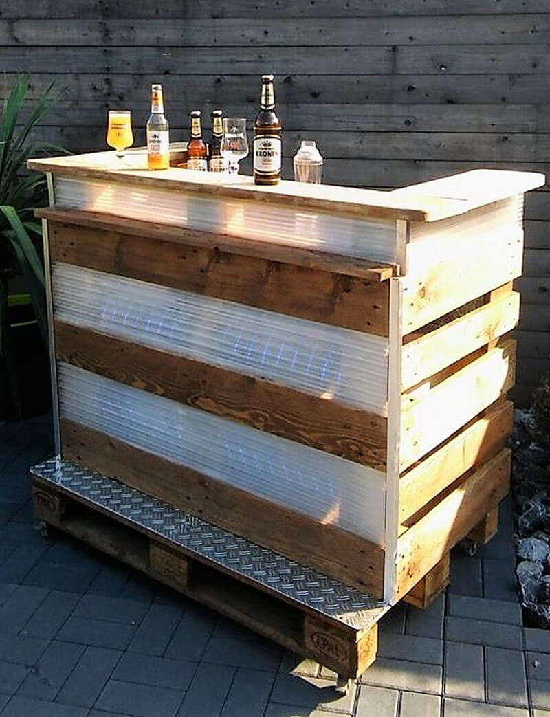 pallets wooden patio bar