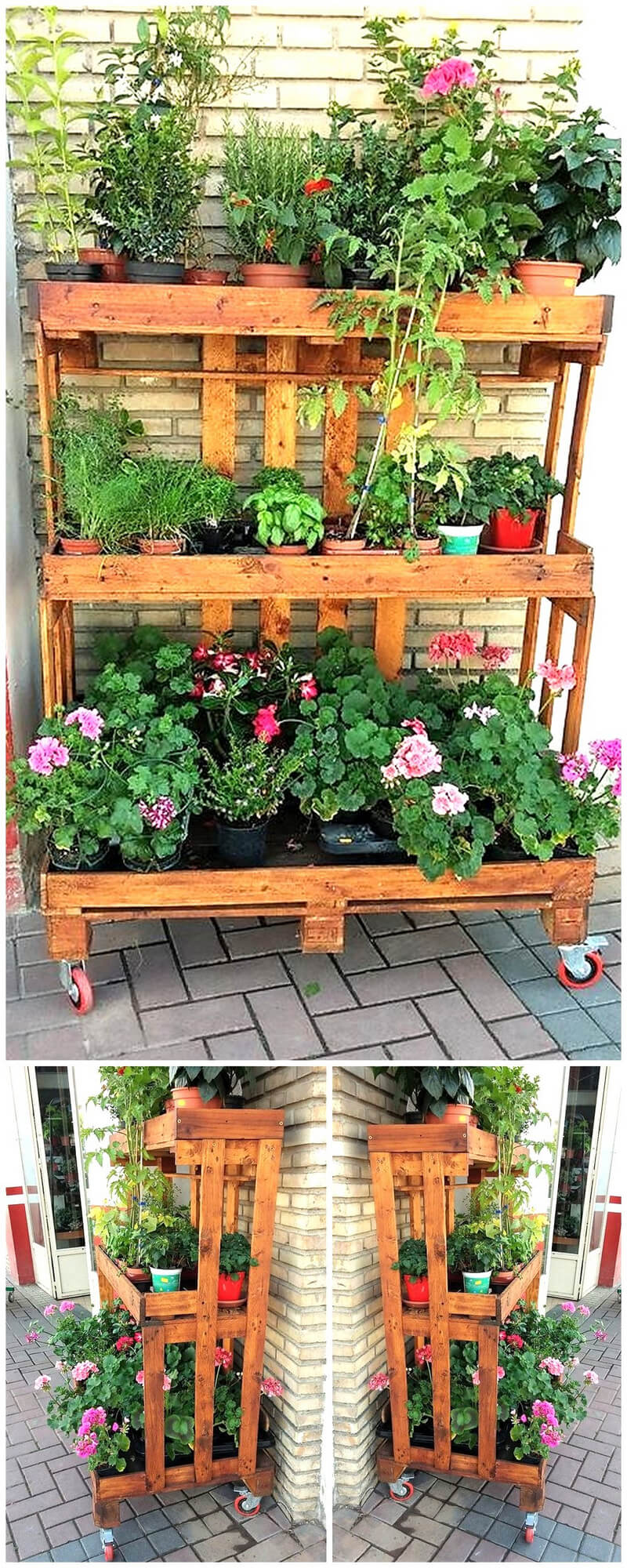 pallets wooden pots stand plan