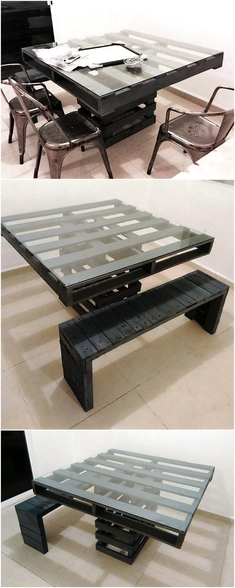 pallets wooden recycled table idea