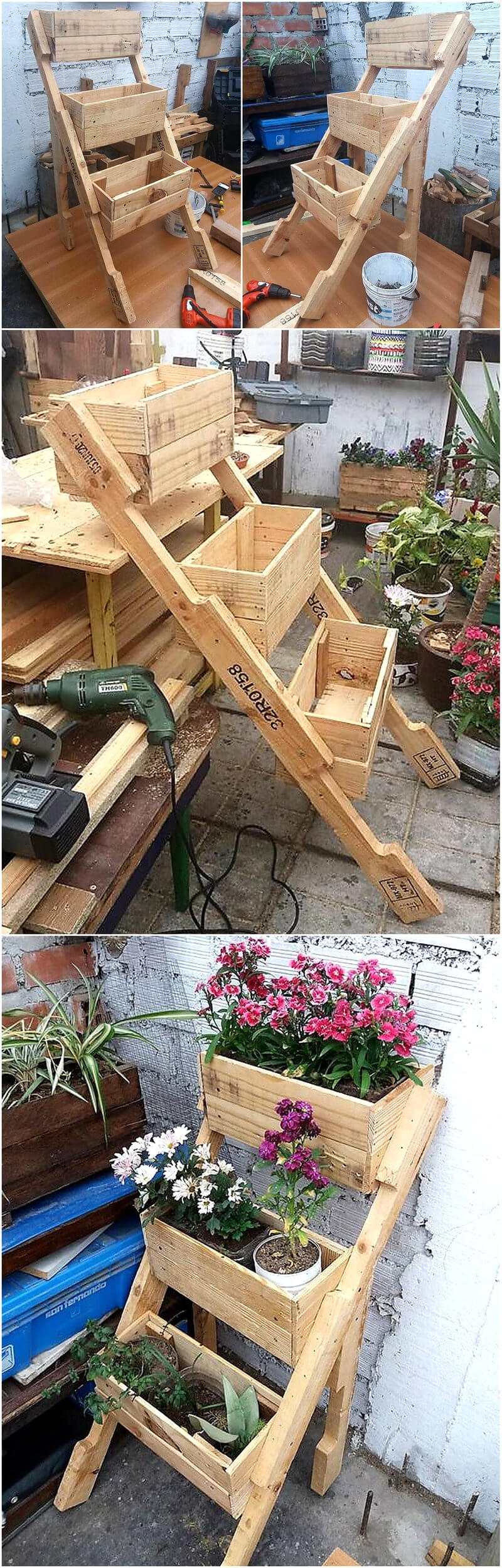 recycled pallets wood planter