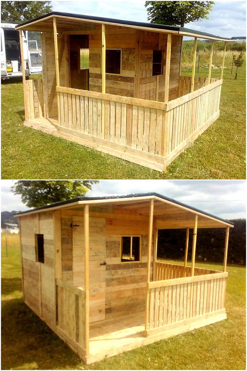 recycled pallets wooden garden cabin idea