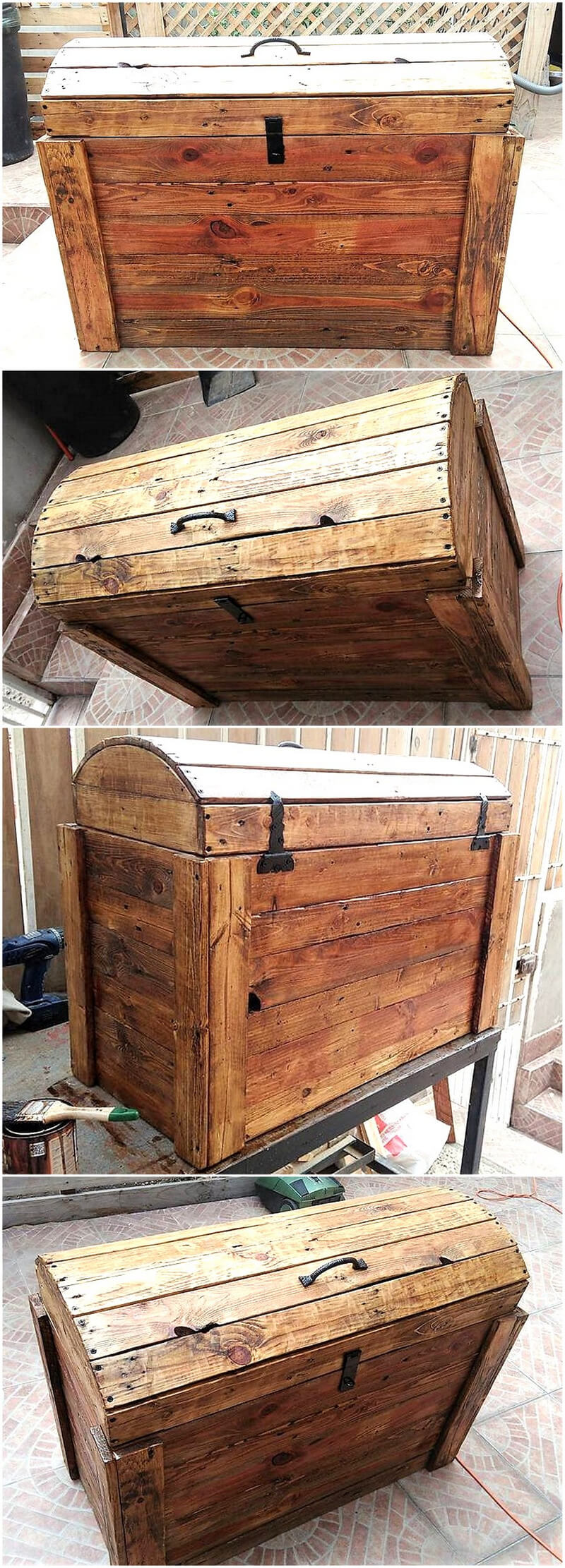 recycled pallets wooden trunk