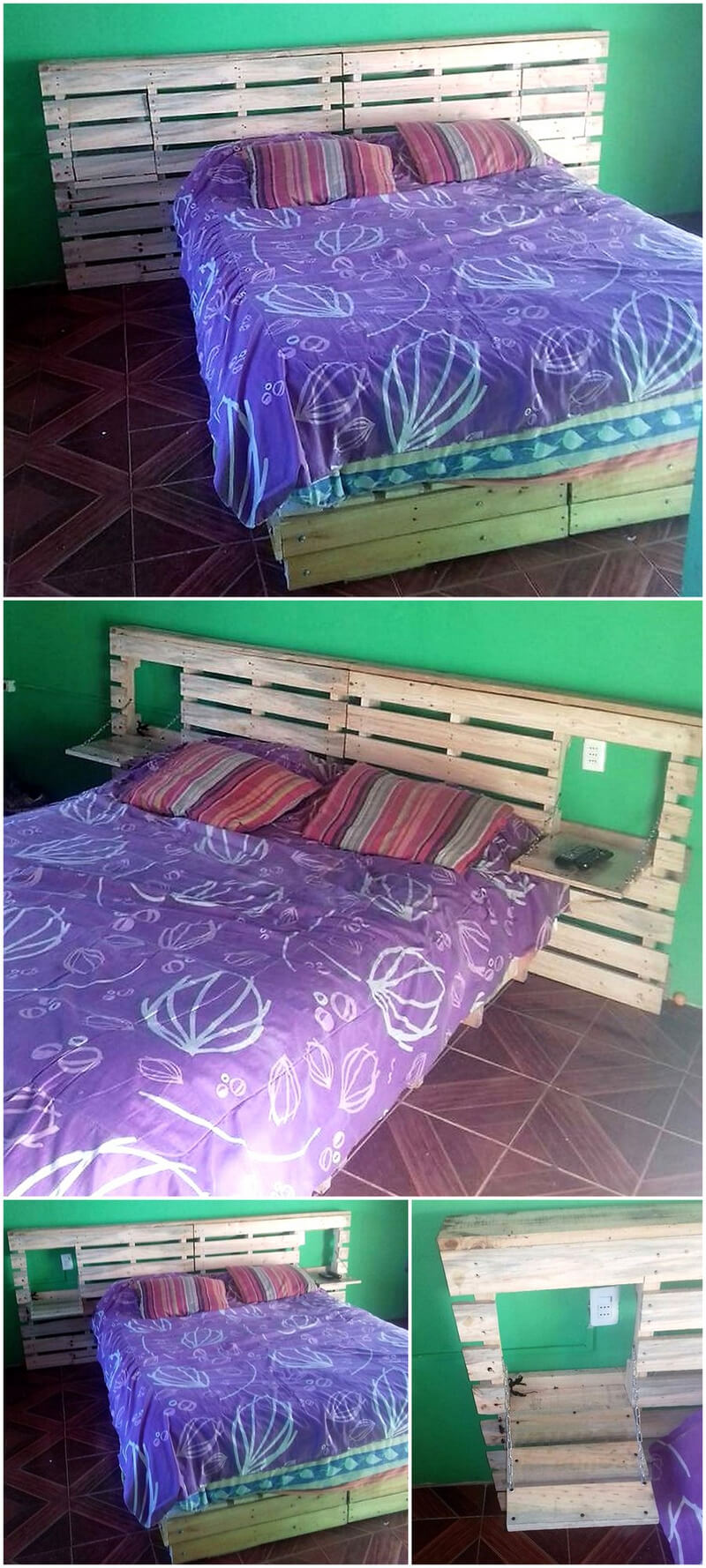 repurposed pallets bed plan