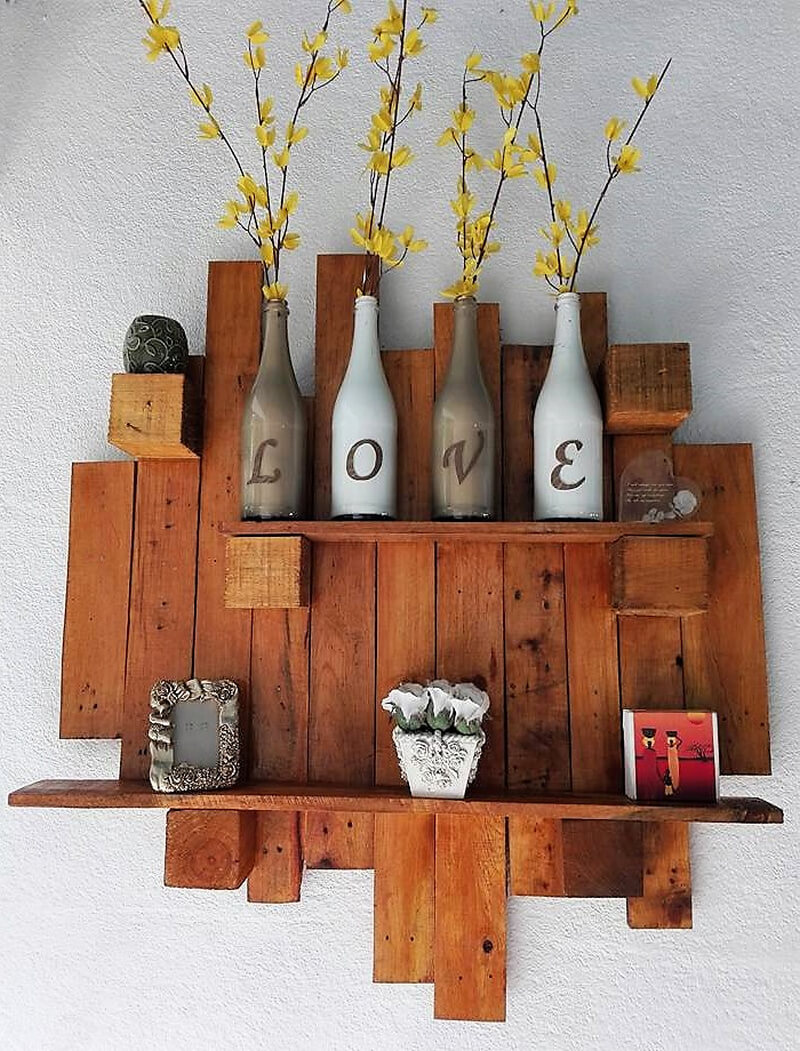 repurposed pallets wall decor shelf