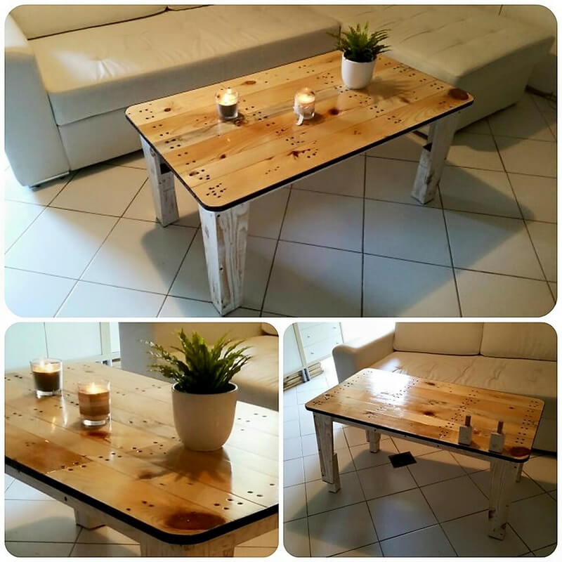 repurposed pallets wooden coffee table