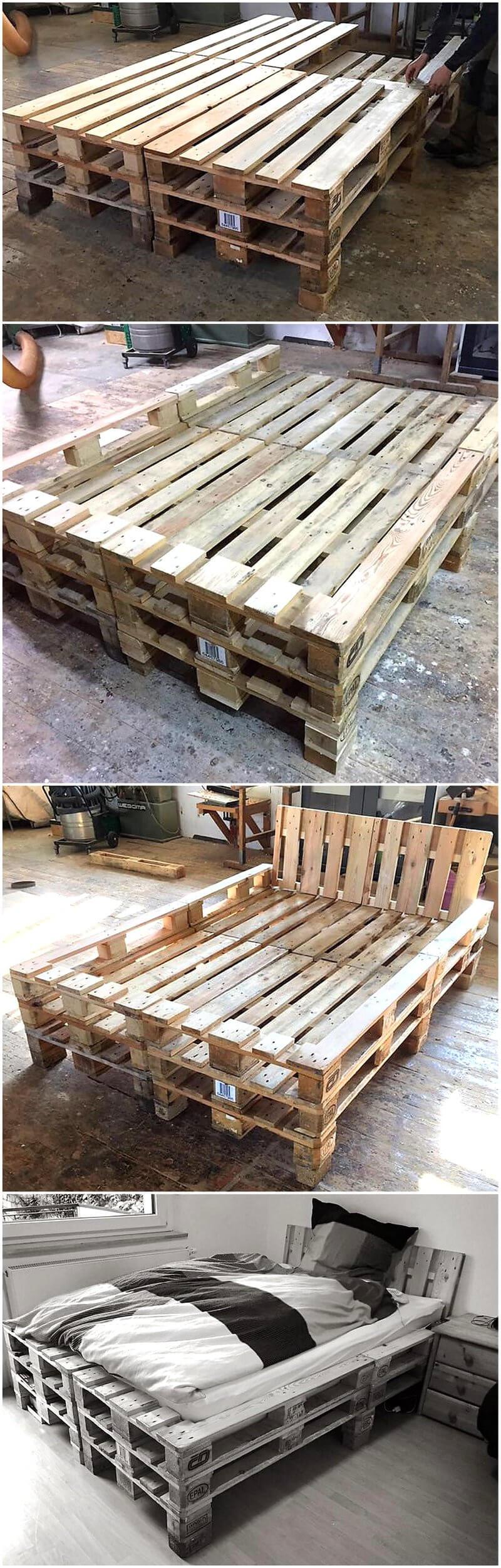 repurposed wood pallets bed