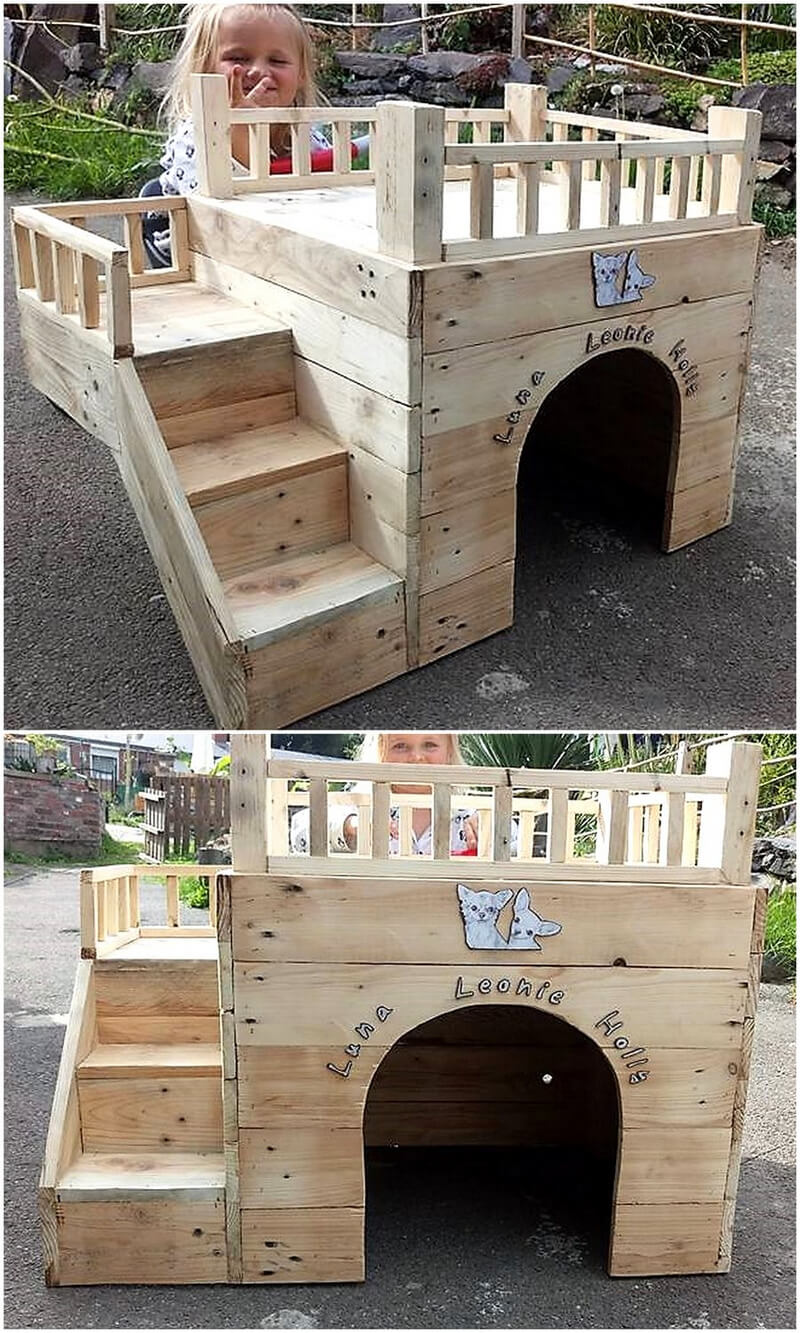 repurposed wood pallets dog house