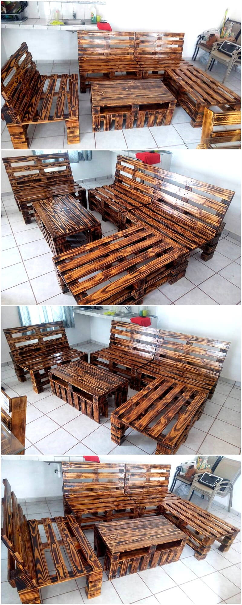 repurposed wooden pallets made furniture set