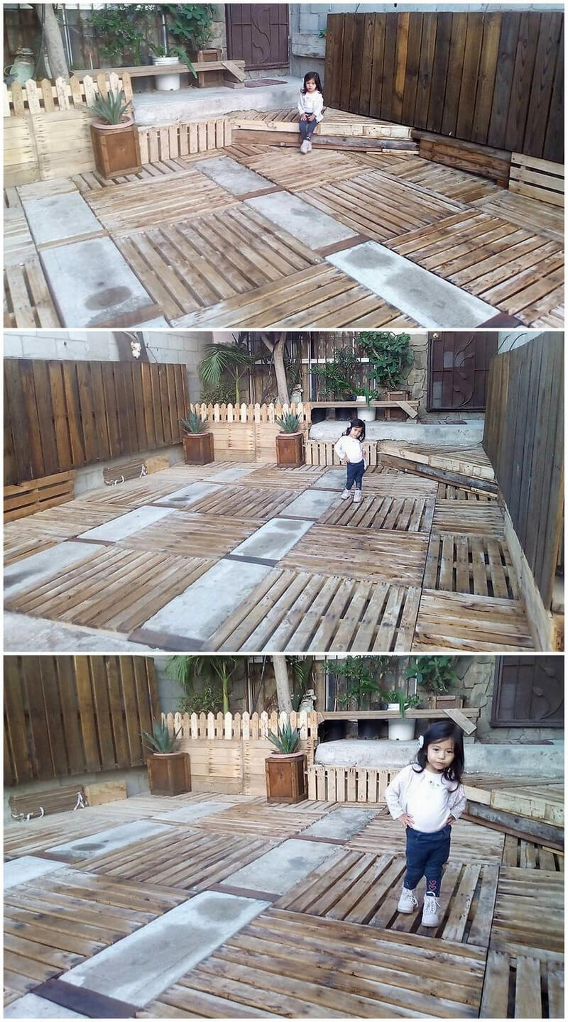 reused pallets wooden made garden terrace plan