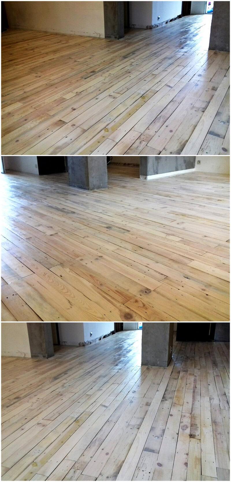reusing of pallets for flooring