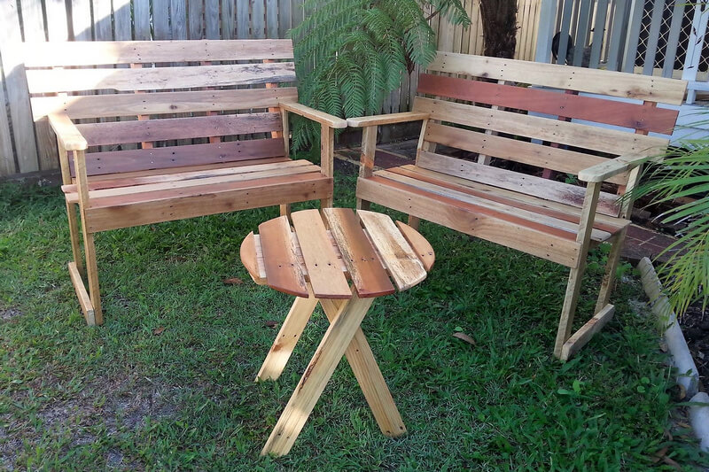 simple furniture for garden with pallets