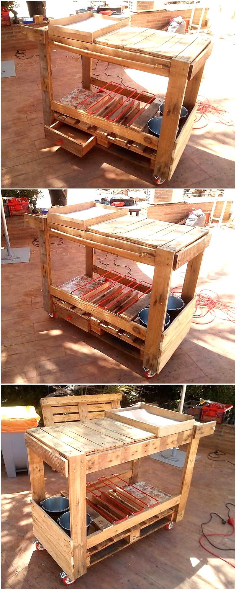 wood pallet patio bbq table on wheels