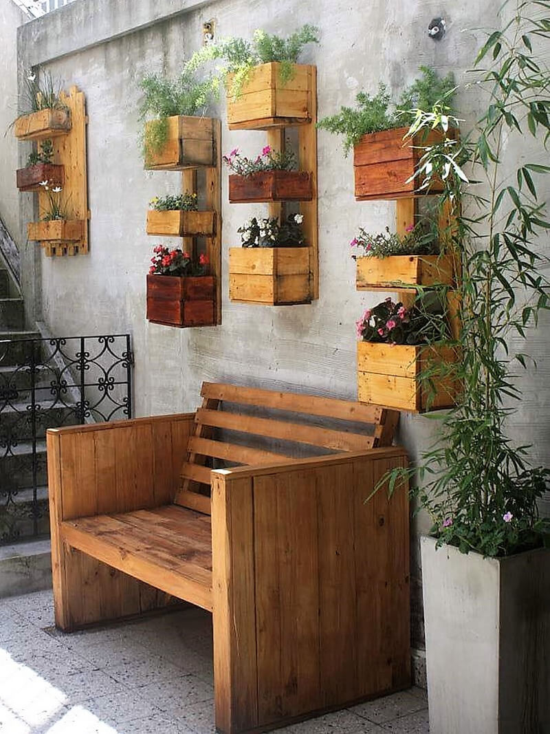 wood pallet patio bench and wall decor planters