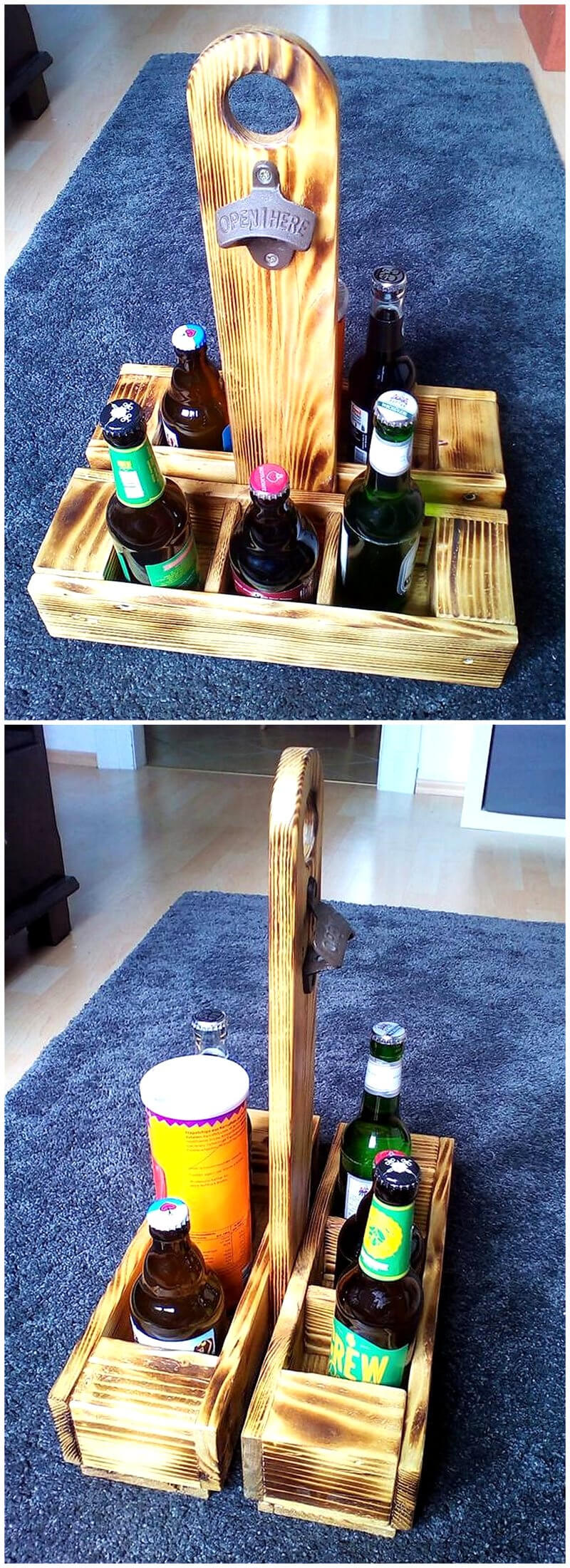 wood pallets Drinks Butler with opener