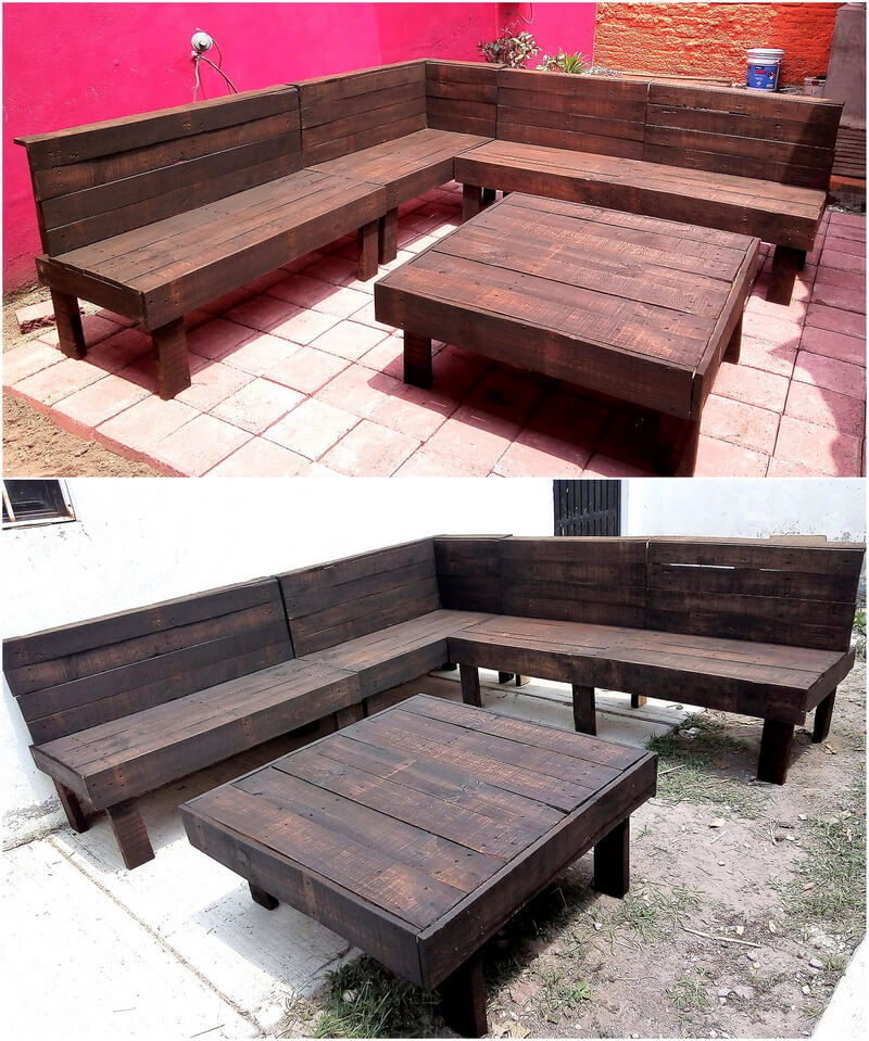 wood pallets corner couch idea