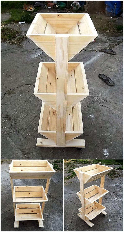wood pallets fruits rack
