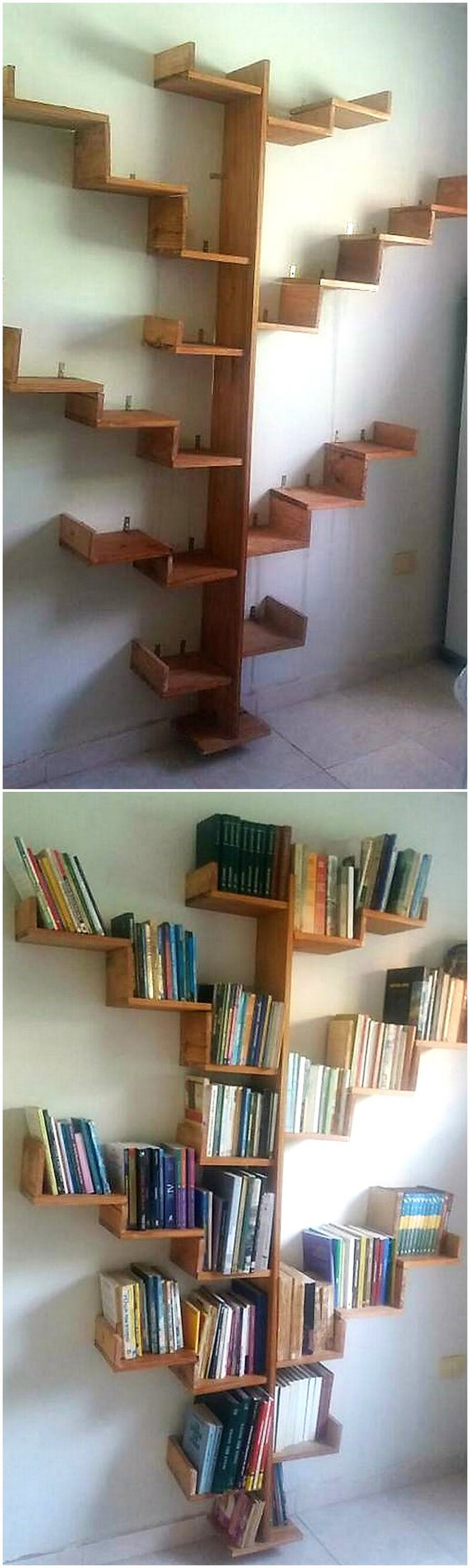 wood pallets made wall bookshelf tree