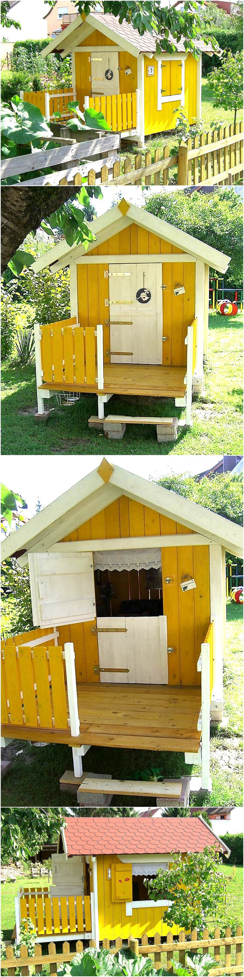 wood pallets patio kids play cabin