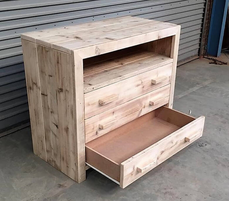 wooden pallets chest of drawers plan